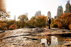 Central Park engagement photo.