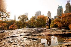 Central Park engagement photo.