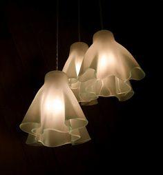 Aline Johnson Glass Design - Frosty Snowdrop Chandelier  Kiln worked glass lighting