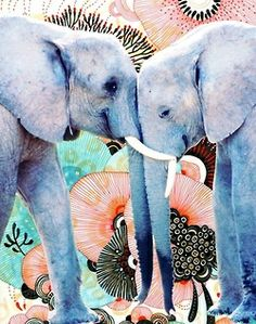 pretty Illustration art trippy cute Cool weird hipster vintage indie Grunge psychedelic blue retro elephants Unique mint