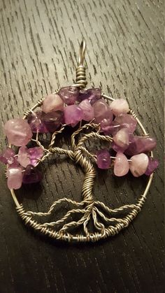 Purple Wire-Wrapped Tree of Life Pendant