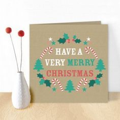 A cheerfull christmascard with a craft background by Oktoberdots