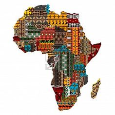 Africa map with countries made of ethnic textures