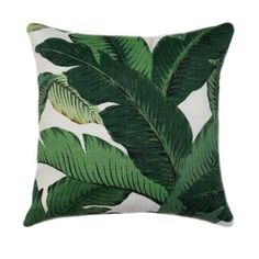 Tommy Bahama TBO Swaying Palm Aloe This beautiful indoor/outdoor pillow features tropical banana leaf / palm leaf print in shades of green with black on a creamy ivory background. A great way to accent your outdoor space with a pop of color. It is fade r Green Pillow Covers, Sofa Pillow Covers, Green Throw Pillows, Outdoor Throw Pillows, Accent Pillows, Décor Pillows, Cushion Pillow, Pillow Cases, Tommy Bahama