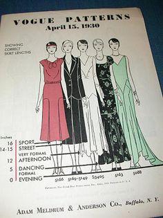 "Vogue April 1930 showing ""correct skirt lengths""."