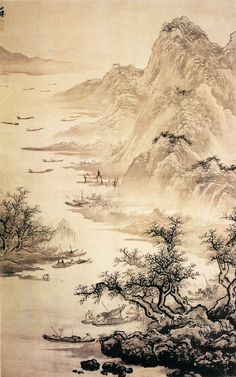 Wu Wei(吳偉) , 明 吴伟 江山渔乐图 北京故宫博物院藏 画家少时生活孤苦,由常熟钱昕收养,后流落于南京,因而对民间渔民的生活抱有极强的同情心,作品的生活气息很浓厚,在表现技法上较清新和自由。此画在空间处理上,真实而浓重,远景虚淡,更接近真实的自然风景,整幅作品画法比较粗纵,当属画家中年以后的作品。《江山渔乐图》表现的是江南的秀色和渔民生活。江边高树坡石,其上远山层叠,江中渔舟有停泊,一幅秀润美丽的江山渔乐图卷。此图画法从南宋院体马远、夏圭一路变化而来,山石作斧劈皴,连皴带染,笔墨奔放,纵横挥洒,但比之马、夏的刚硬静穆,则略显柔软骚动。