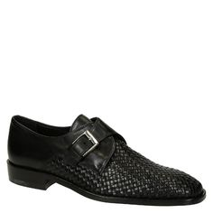 Black woven leather monk strap shoes handmade - Italian Boutique €231