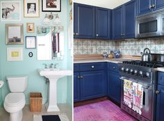Robin Anderson Cambridge Condo - Sarah Winchester Studios - navy blue Kitchen, gold hardware, pink over dyed rug. Mint bathroom