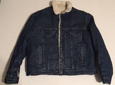 Vintage Levis Denim Sherpa Lined Jacket Made in the USA 46R #Levis #JeanJacket