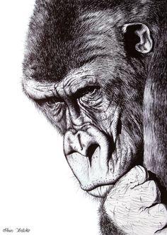 Gorilla Black Ball Pen Drawing. Wall decor. by ArtwaveStudio