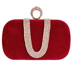 Chicastic Wine Red Suede Rhinestone Studded One Ring Knuckle Duster Style Minaudiere Evening Cocktail Clutch Bag. Suede Rhinestone Studded Clutch. One Ring Knuckle Duster Style. Chain String Attached. Measures - Length = 7 in * Height = 4 in * Width = 2 in. Fits iphone 5.