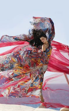 Colourfull dancer in the canyon wind. Firebird by Maria Alexea on Fashion Week, Fashion Art, Editorial Fashion, Diana Fashion, Fashion Shoot, Blowin' In The Wind, Mode Glamour, Greece Holiday, Flowing Dresses