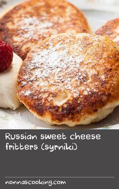 Russian sweet cheese fritters (syrniki)   I grew up with a mum who worked full-time, so my brother and I had pretty simple breakfasts before heading to school. But she loved to spoil us on the weekends by making something special for breakfast. Syrniki (seer-nee-kee)were one of these treats and I missed them terribly when I moved away from Russia. Syrniki are fritters made from a farmer's cheese called tvorog and I couldn't find a good substitute in the US or Canada for the longest time… Dill Recipes, Best Pasta Recipes, Best Cake Recipes, Fruit Recipes, Cheese Recipes, Sweet Recipes, Baking Recipes, Easy Recipes, Russian Breakfast