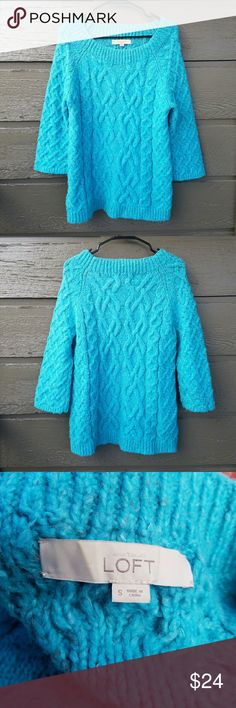 LOFT Turquoise Sweater Excellent condition  Feel free to ask me any additional questions! Reasonable offers  are considered. Happy Poshing!! No trades, or modeling LOFT Sweaters