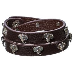 Amazon.com: Designer Inspired Brown Leather Wrap Bracelet with Silver Tone Elephants.: Jewelry