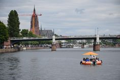 #Barbecue rafts on the Main river in #Frankfurt Germany #traveloddities