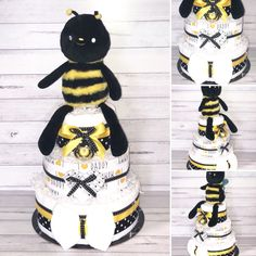 Neutral Baby Bee Nappy Cake