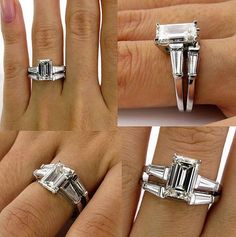 A vintage emerald cut diamond wedding band set with baguettes.