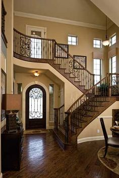 stairway inspiration- gives such a presence when you have a home the provides the stairs with the ultimate statement. Dream Home Design, My Dream Home, Staircase Design, House Staircase, Railing Design, Entry Foyer, Grand Entryway, House Goals, Stairways