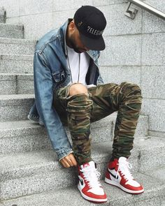 Nike Air Jordan 1 Retro Hightop OG is part of Sneakers men fashion - cstlcloth Jordans Outfit For Men, Men Jordan Outfits, Nike Outfits For Men, Dope Outfits, Fashion Mode, Mens Fashion, Fashion Night, Fashion Fall, Fashion Boots