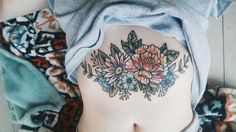 Floral sternum piece for violenttrees done by Chelcie Dieterle at The Rusty Needle Tattoos in Conway, AR