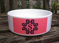 Monogrammed Pet Bowl Personalized Small Water Bowl by Pink Wasabi Ink