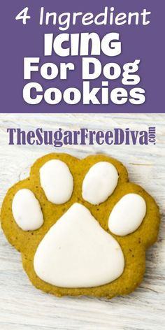 4 Ingredient Icing for Dog Cookies My dogs love when I make them yummy cookies and treats. This recipe for icing is perfect for making those yummy pet treats even better. Dog Cookie Recipes, Easy Dog Treat Recipes, Homemade Dog Cookies, Dog Biscuit Recipes, Homemade Dog Food, Dog Food Recipes, Homemade Biscuits, Doggie Cookies Recipe, Recipe For Dog Biscuits