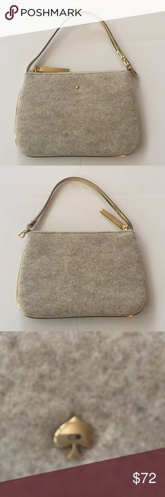 *Kate Spade* Kate Spade frosted grant street lolly, brand new with tags, it's a cute fleece fabric with gold accents kate spade Bags Clutches & Wristlets