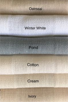 Natura Collection available in 40 colors! Shabby Chic Curtains, Linen Curtains, Linen Fabric, Manchester, French Pleat, Drapery Designs, Blind Stitch, Custom Drapes, Drapery Panels