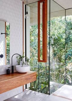 Industrial bathroom, with amazing windows and a view!