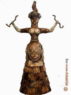 PANTHENON / MINOISCHE CULTUUR  // knossos snake goddess - Slangengodin Faience 17 eeuw v.C Stond.aan het hoofd van het Minoische pantheon  ( Minoische cultuur )