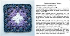 Traditional crochet granny square pattern and sample