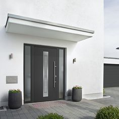 Hörmann ThermoPlus entrance doors and ThermoPro entrance doors make you feel good . - Hörmann ThermoPlus entrance doors and ThermoPro entrance doors make it easy to feel good with good - Door Canopy Modern, Front Door Canopy, Front Door Porch, Front Door Entrance, House Front Door, House Doors, House Entrance, Entry Doors, Front Doors