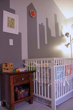 Example of Skyline mural for Asher's Room but in a dark blue with windows.