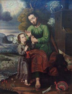 Pintura Colonial, Colonial Art, Hispanic American, Jesus Face, Maria Jose, Holy Family, St Joseph, Religious Art, San Jose