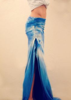 Ruched tie dye maxi skirt that will fit you perfectly.. since you make it for yourself!