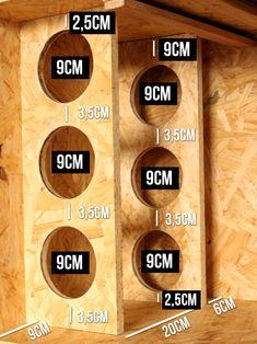 Como fazer uma Adega - Do Edu Tem video novo pra te mostrar como fazer uma adega super estilosa. Wood Wine Racks, Wine Rack Wall, Cave A Vin Design, Vin Palette, Wine Rack Design, Alcohol Dispenser, Wine Rack Plans, Wine Rack Storage, Pallet Wine