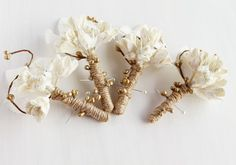 Cream Rustic Buttonhole Country Groom Boutonniere by HandyCraftTS