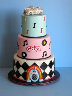 """1950's """"Grease"""" themed birthday cake covered in buttercream with fondant accents."""