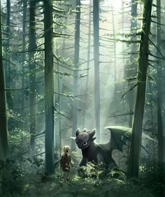 Hiccup meeting Toothless in the woods