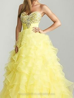 Princess Sweetheart Organza Floor-length Tiered Prom Dresses -GBP£132.39