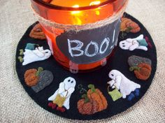 Little Ghosts Trick or Treating Candle Mat by rustiquecat on Etsy