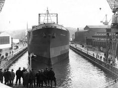 The ship British Valour in the dry dock at Swan Hunter shipbuilders in Wallsend. Completed in 1957.