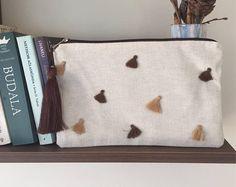 BOHO CLUTCH bag/Boho chic Clutch/Bohemian bag with tassel/Flax Clutch Purse/Linen Handbag/Ethnic Clutch/Gift For Her