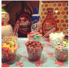 Ice cream toppings bar for sleepover fun! #icecreambar #icecream #toppings