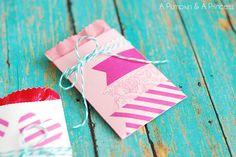 mini paper pocket valentines on a pumpkin & a princess