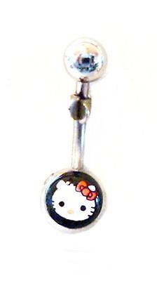 Belly Ring Character Hello Kitty Head on Black Non Dangle Naval Steel Body Jewel