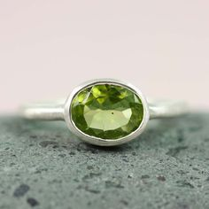 Sterling Silver Oval Peridot Ring  gemstone ring by tooriginal, $49.00