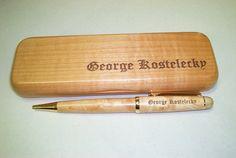 Single Classic Pen & Box  Maple by LaserCreationsCO on Etsy