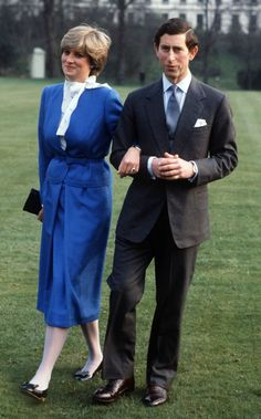 Lady Diana Spencer With Prince Charles in the gardens of Buckingham Palace on the day they announced their engagement, February 24, 1981.